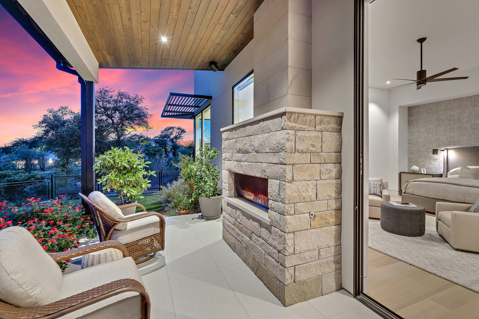Master patio with fireplace, perfect for unwinding at the end of the day