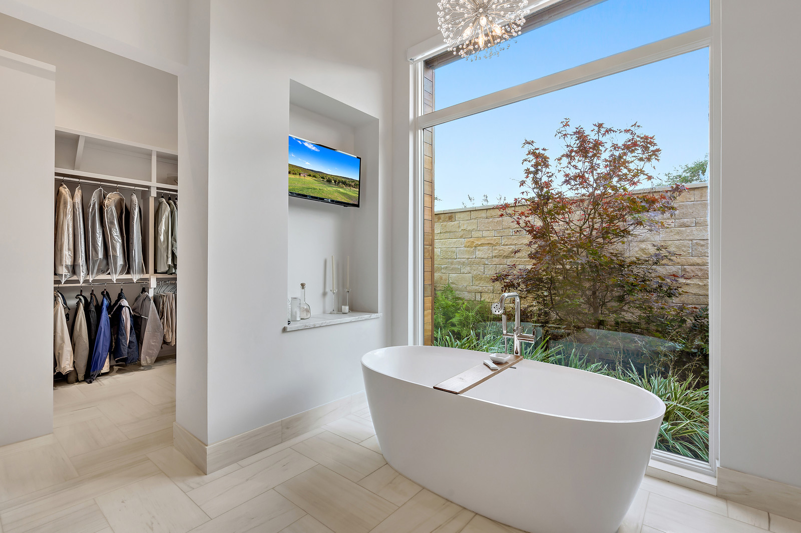 Master bath with private courtyard view